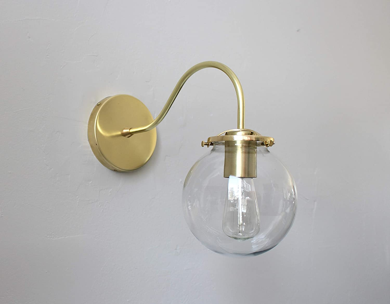 Amazon com wall mounted sconce lamp brass with clear bubble glass