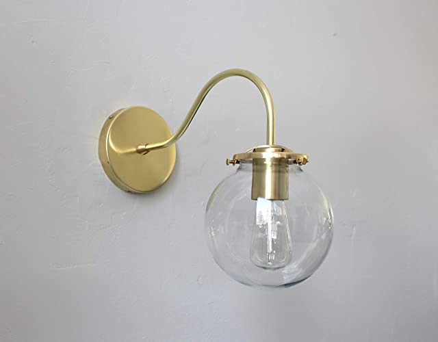 Wondrous Amazon Com Wall Mounted Sconce Lamp Brass With Clear Interior Design Ideas Tzicisoteloinfo