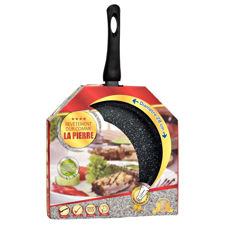 Kitchen Pro - Juego de 3 sartenes de piedra para todo tipo de fuegos, incluidos los de inducción, diámetro de 20/24/28 cm con 4 discos antiarañazos: ...