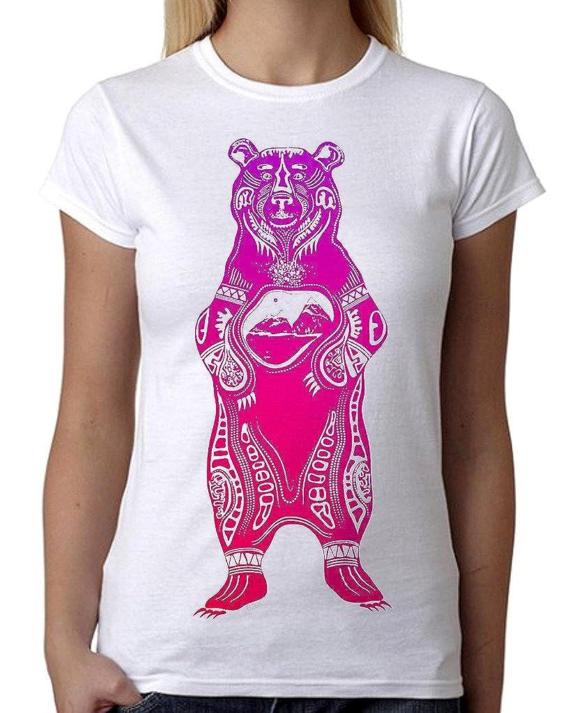 9b5ca7ea9dc6c Junior s Purple Ombre Tribal Standing Bear B203 White T-Shirt at Amazon  Women s Clothing store