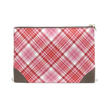 Amazon.com   MMstyle Pink And Red Plaid Valentine Love Leather Large  Capacity Toiletry Cosmetic Bag for Women Girls   Beauty b81ca81ae95e6