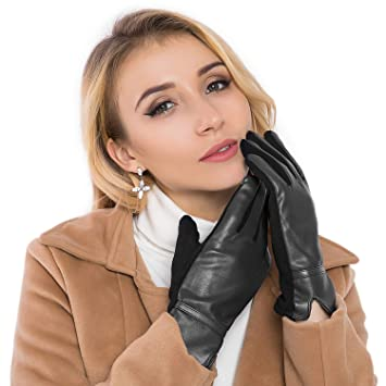 0483d1b479a2c Women Leather Gloves Winter Touchscreen Warm Plain Gloves- Touch Screen  Texting Phone (Black) ...