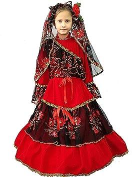 pequeños monelli Disfraz Española niña 4 años Vestido Modelo Princesa Camilla de Carnaval de Terciopelo Medida de Hombro en el Suelo 94 cm: Amazon.es: Juguetes y juegos