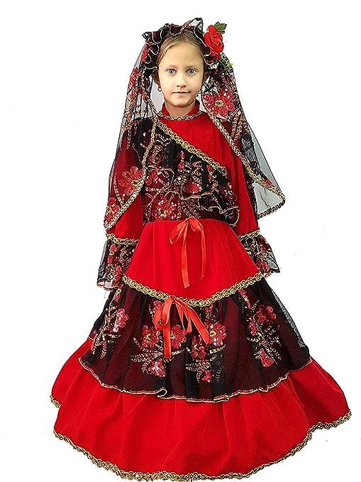 PICCOLI MONELLI Costume Spagnola Bambina 3 Anni Vestito Modello Principessa  carmencita di Carnevale in Velluto da b8fa63bb7fd