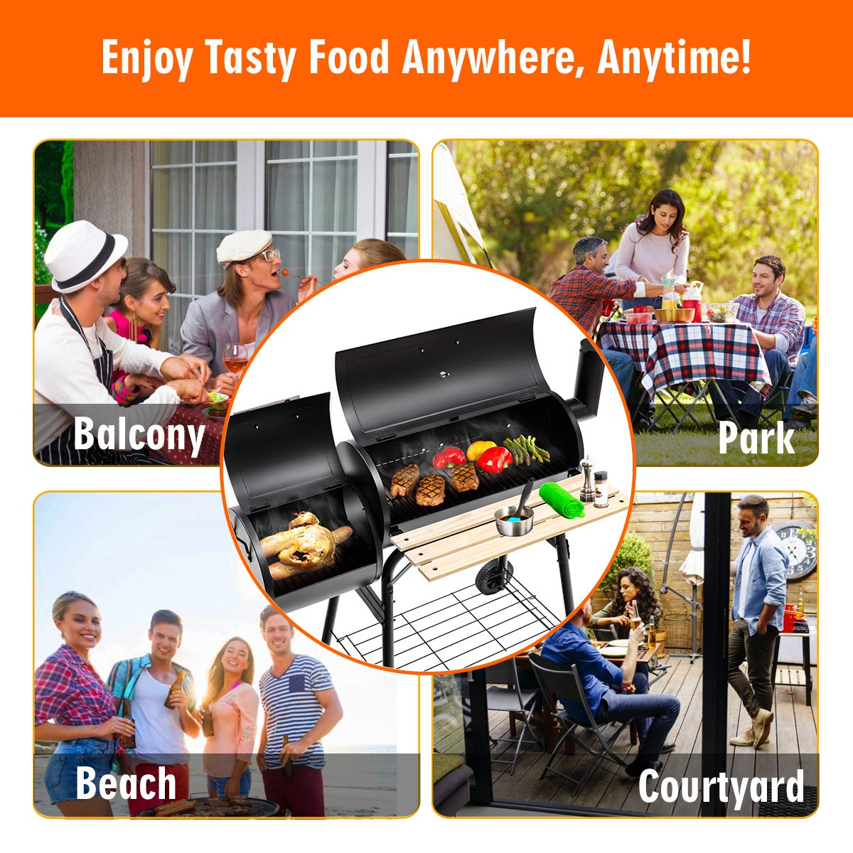 Giantex BBQ Grill Charcoal Barbecue Grill Outdoor Pit Patio Backyard Home Meat Cooker Smoker with Offset Smoker by Giantex (Image #8)