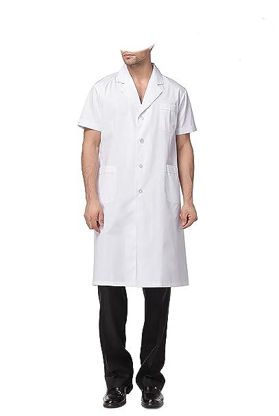 WDF Bata de Laboratorio médicos Bata Uniforme de Trabajo Enfermera Blanco Hombres Manga Corta Largo párrafo elástico Esposas: Amazon.es: Ropa y accesorios