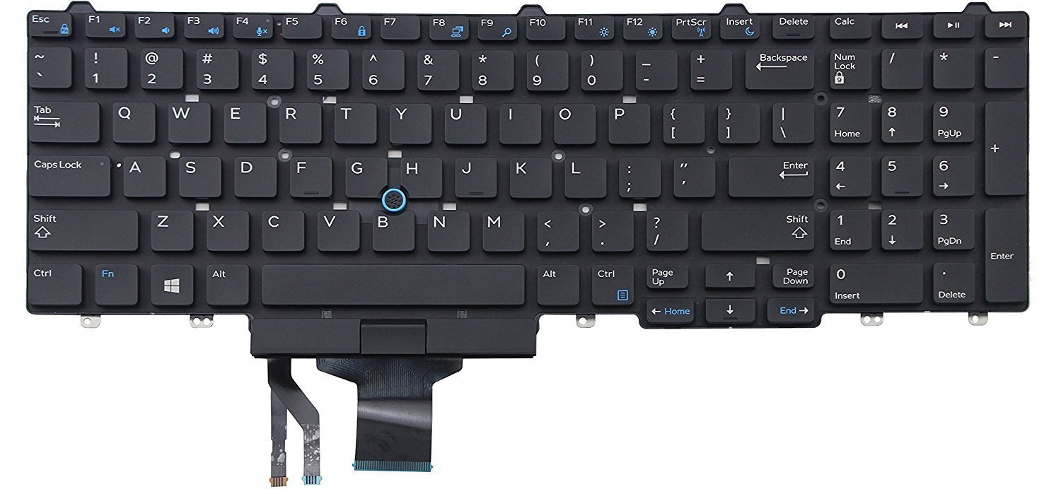 KBR Replacement Keyboard for Dell Latitude Dell Latitude E5550 E5570 5550 5580 5590 5591, Precision 3510 3520 7510 7520 7710 7720 Series Laptop With Pointer No Backlit No Frame US Layout
