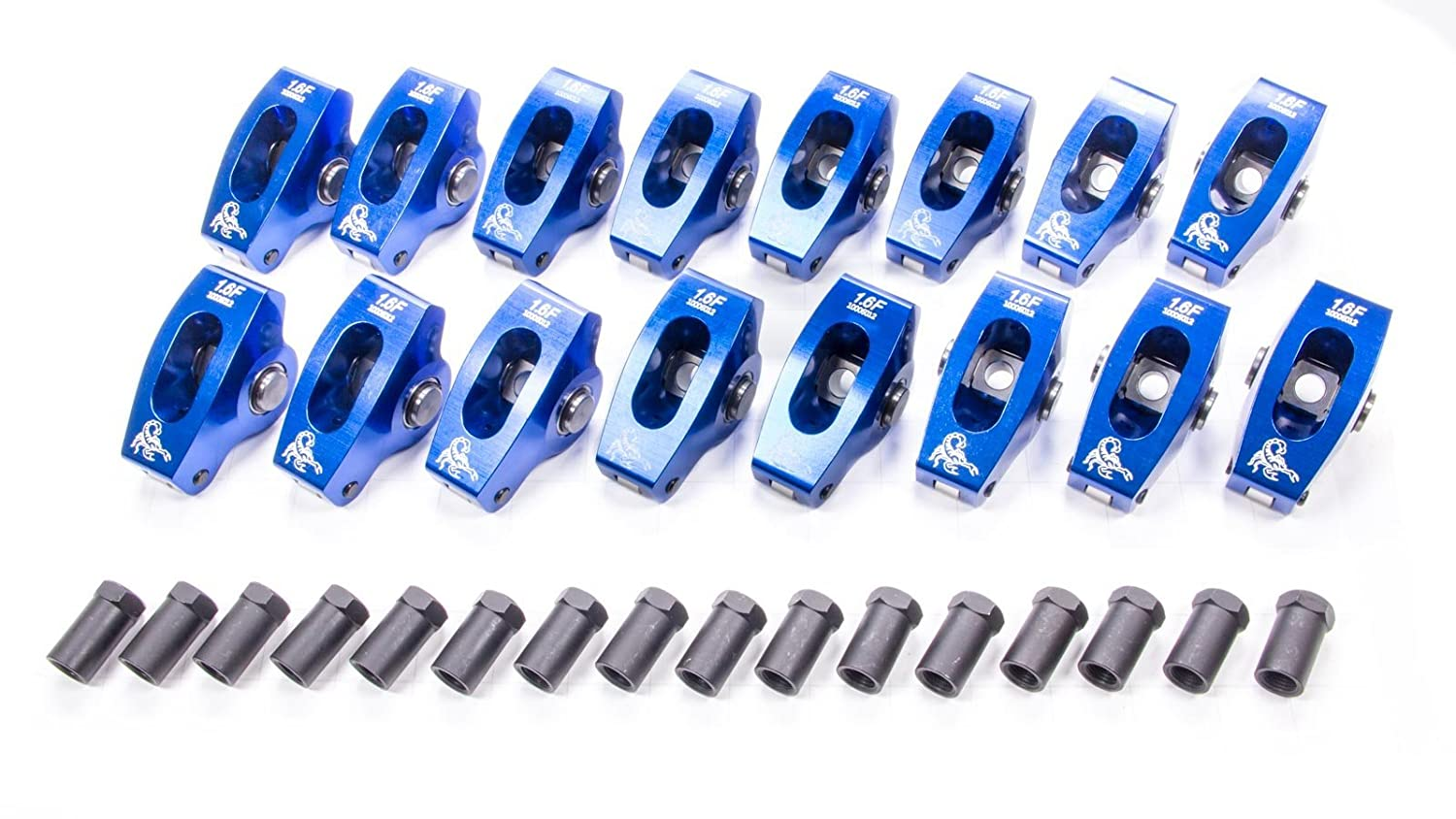 Scorpion Performance 1018 1.6 Ratio Roller Rocker Arm for Small Block Ford Pack of 16
