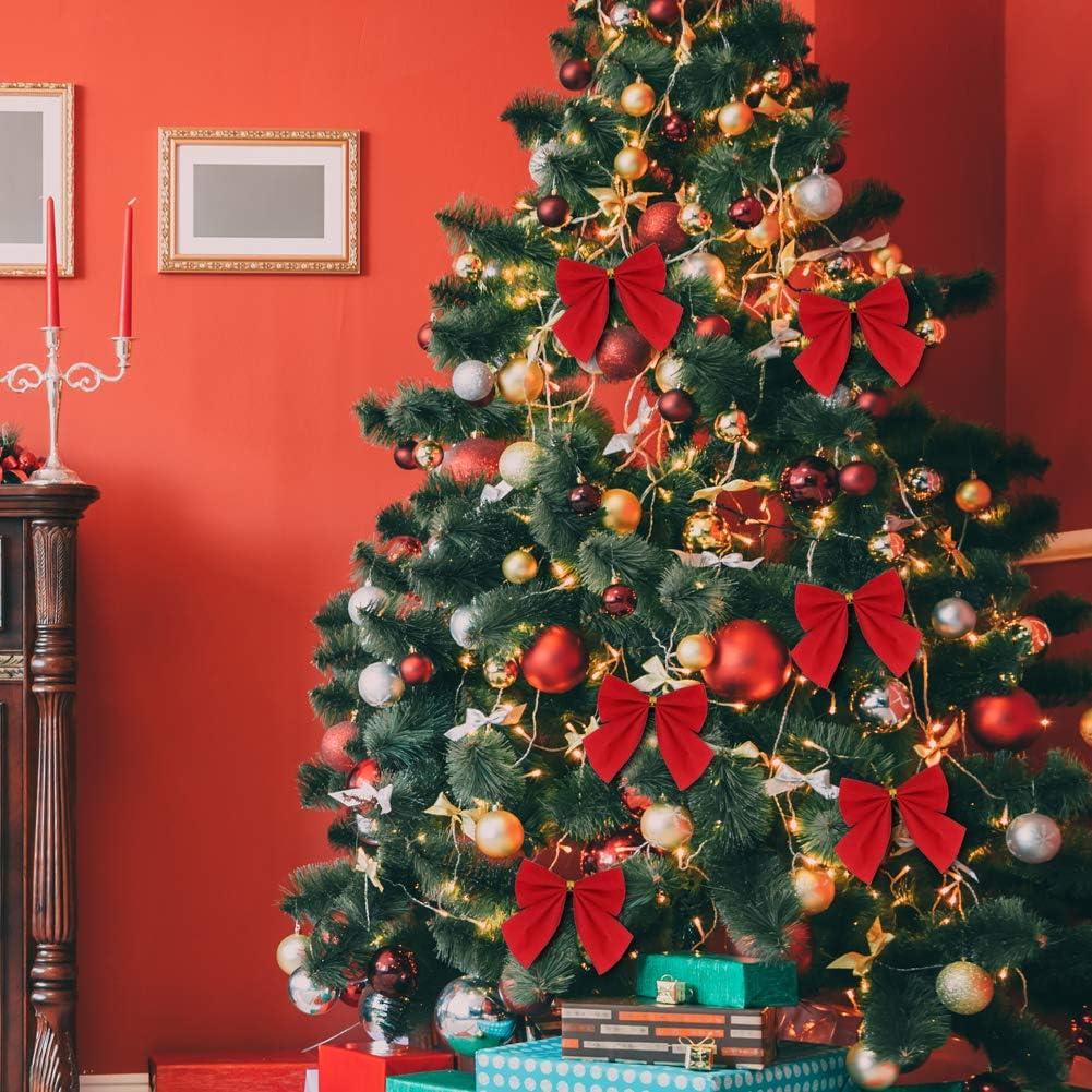 120 Pieces Christmas Ribbon Bows Red Mini Ribbon Bows Christmas Tree Decoration Xmas Wreaths Bowknot Ornaments for Christmas Tree Christmas Wreath Gift Decoration,5.5cm