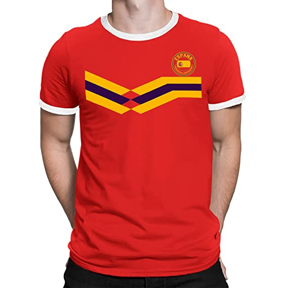 Tee Spirit Spain Camiseta Para Hombre World Cup 2018 Fútbol New Style Retro: Amazon.es: Ropa y accesorios