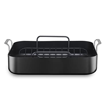 KitchenAid KC2H116RP 16  Hard Anodized Roaster with Rack - Midnight Black
