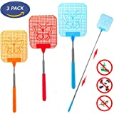 Fly Swatter Extendable, [Portable to Be Your Travel Partner] Strong Flexible Manual Swat with Durable Telescopic Handle - Colorful Pack of 3