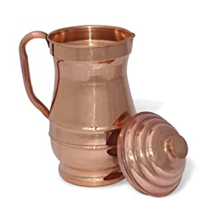 Handcrafted Water Pitcher Smooth Finished Maharaja Jug Copper Pitcher Capacity 60 Fluid Ounce Approx
