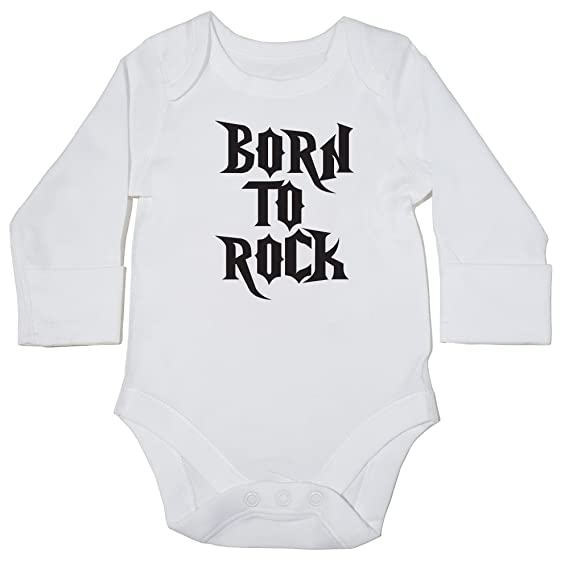HippoWarehouse Born to Rock body manga larga bodys pijama niños niñas unisex: Amazon.es: Ropa y accesorios