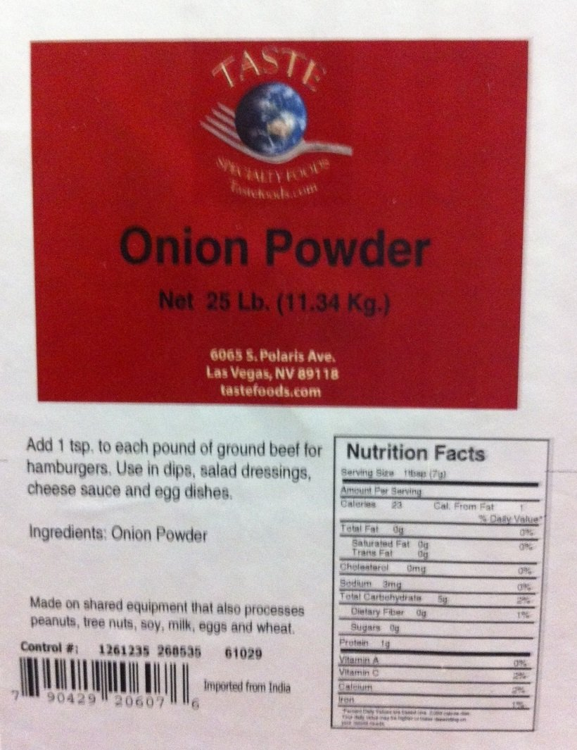 Taste Specialty Foods Powder, Onion, 25 Pound by TASTE Specialty Foods