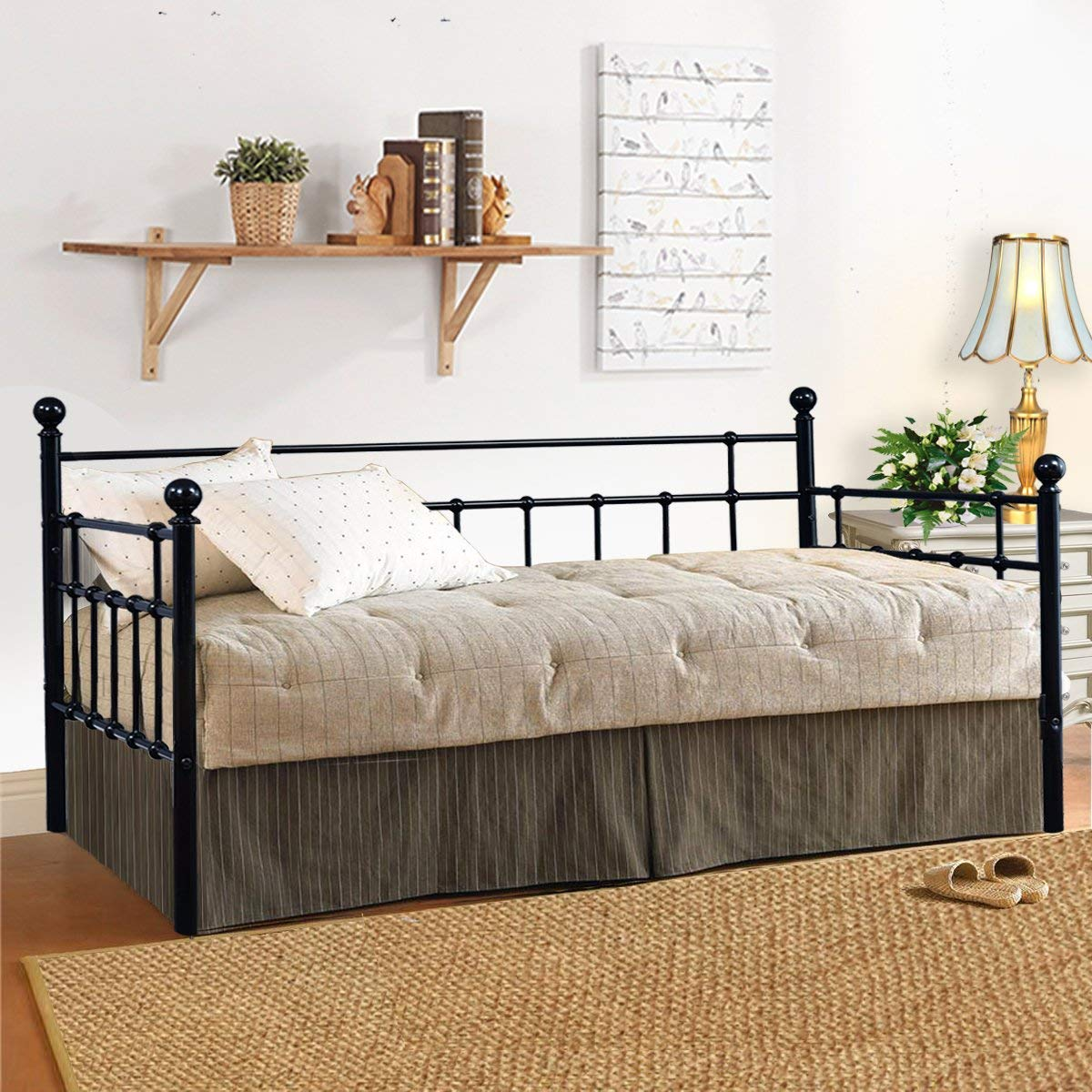 HOMERECOMMEND Metal Daybed Frame Twin Steel Slats Platform Base Box Spring Replacement Children Bed Sofa for Living Room Guest Room (Twin,Black)