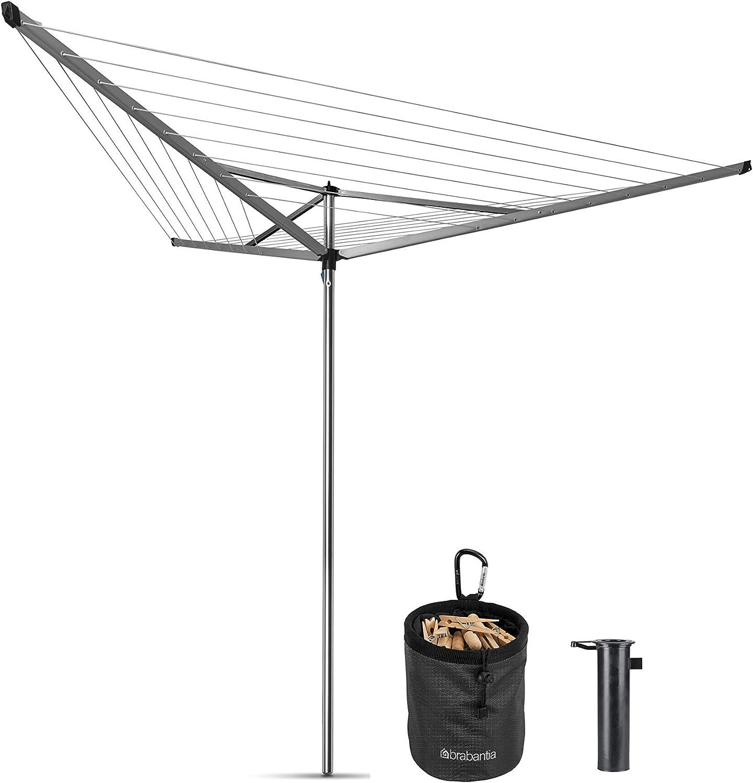 Brabantia Essential Tendedero Exterior Tipo Paraguas, Acero Inoxidable, Gris Metalizado, 30 m de Cuerda: Amazon.es: Hogar