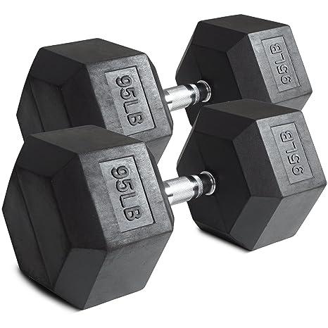 Par 95 kg, pesas hexagonales con recubrimiento de goma negro peso formación Set 190 kg