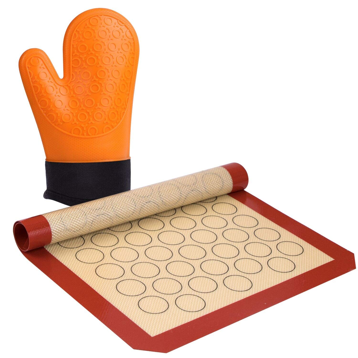 LIDODO Silicone Macaron Baking Mat&Oven Mitts-Stick Silicone Baking Mat-Non Stick Silicon Liner Bake Pans & Rolling-Set Baking Mat (Thick & Large 11 5/8'' x 16 1/2'') a Oven Mitts(11 inch)