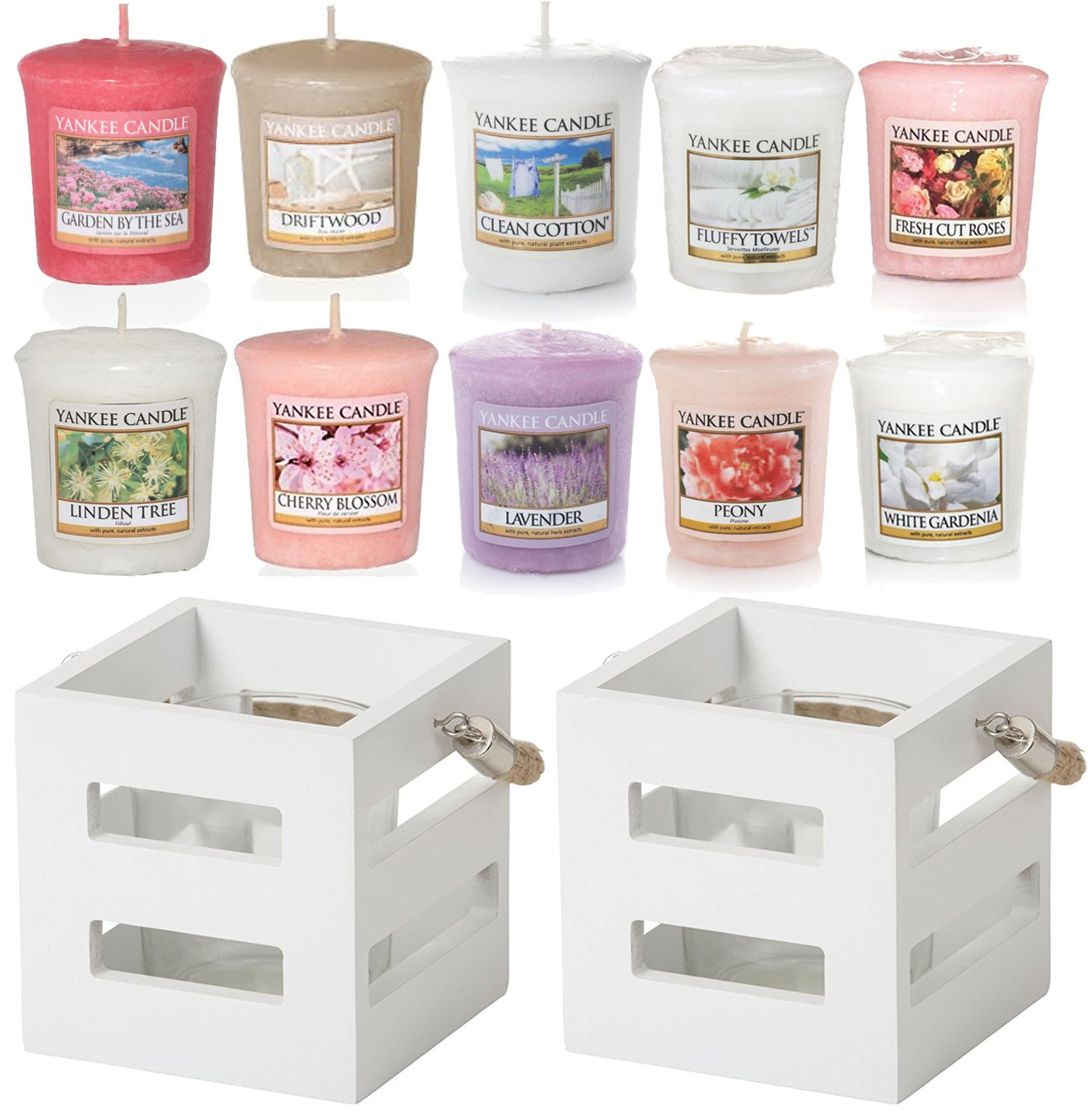 Yankee Candle, 2 portacandele ufficiali bianco in stile marittimo, portacandele in legno + 10 candele Votive Sampler 2portacandele ufficiali bianco in stile marittimo portacandele in legno + 10 candele VotiveSampler My Planet Yankee Candle