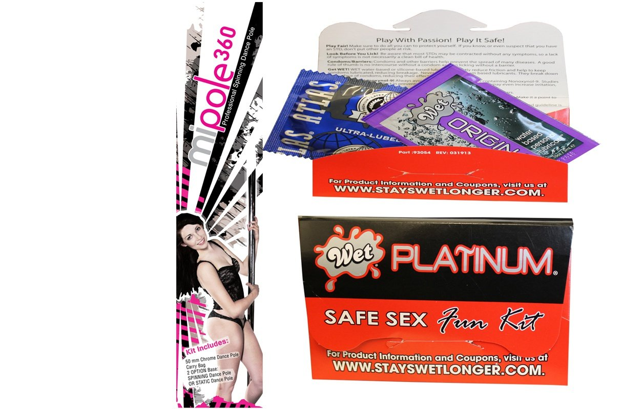 Bundle package 1 MI-Pole Professional Spinning Pole 9ft AND 1 Wet Safe Sex Kit with Platinum Silicone Lubricant by SNB Fundamental Financial Group LLC (Image #1)