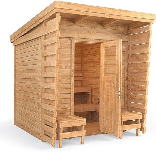 Isidor cabina de sauna Sauna de exterior 2 x 2 m madera maciza ...