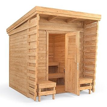 Outdoor Sauna Sauna Cabin Sauna 2x2m Solid Wood Panel Roof (including  HARVIA BC80)