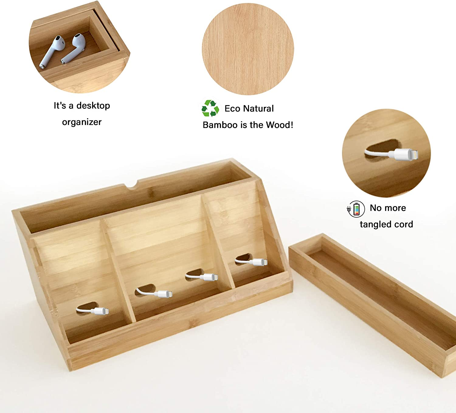 Bamboo Docking Phone Station Apple watc iPhone Shelf Charger and Stand Organizer Tech Gadget Box for Ipad Samsung Wood Charging Station for Apple Products and Wireless Devices Tablets Airpods