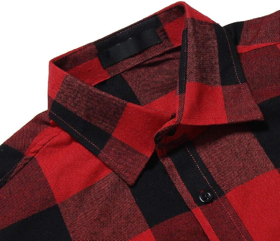 YUNY Mens Britain Plus Size Mid-Long Plaid Lounge Tshirt Shirt Red 2XL