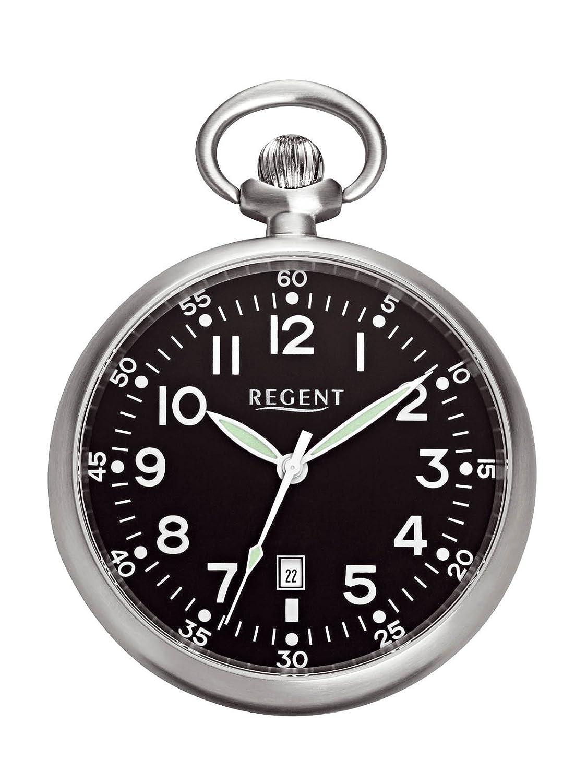 Regent - Taschenuhr - Quarz - Silber - Edelstahl - Datum - P62