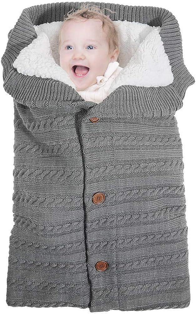 Swaddle Wrap Bebe,Saco de Dormir Cuna Bebe,Unisex Swaddle Manta,Saco de Dormir Bebe Recien Nacido,Manta de Invierno Bebe,Manta Bebe,Punto de Ganchillo, para Bebés