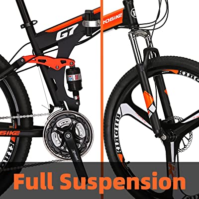 Folding Mountain Bike 27.5 inches wheels full suspension 21 Speed mens Bicycle