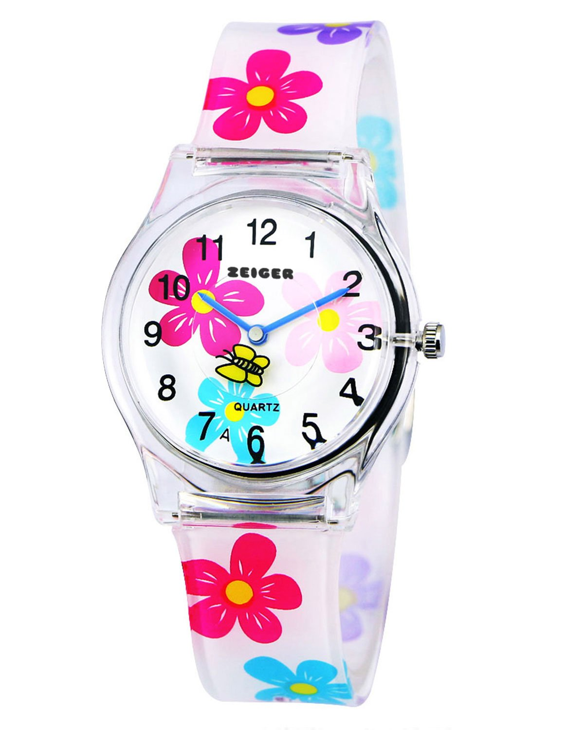 Zeiger Time Teacher Teen Young Girls Children Kids Watches First Watch, Colorful Flower Resin Band Small Size