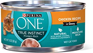 Purina ONE Natural, High Protein, Gravy Wet Cat Food; True Instinct Chicken Recipe - (24) 3 oz. Pull-Top Cans(Premium Pack)