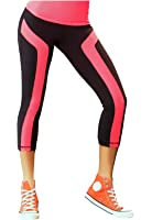 Babalu Women's Capri Pants with Mesh Details Gym Workout Fitness Running