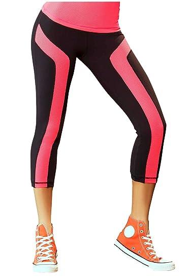 abef01f2a7261e Amazon.com: Babalu Women's Capri Pants with Mesh Details (Black ...