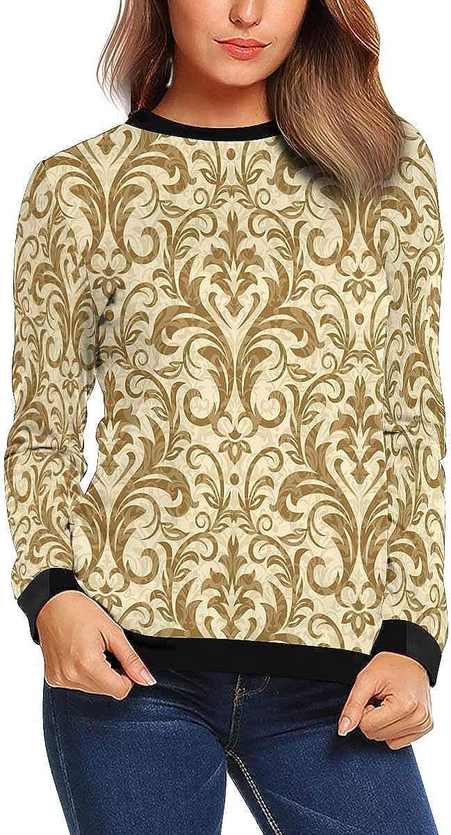 INTERESTPRINT Womens Crew Neck Sweatshirt Damask Design Casual Pullover Tops XS-XL