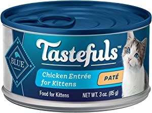Blue Buffalo Tastefuls Natural Kitten Pate Wet Cat Food, Chicken Entrée 3-oz cans (Pack of 24)