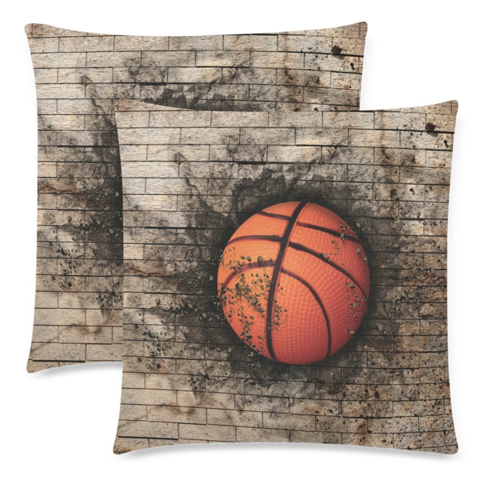 InterestPrint Custom 2 Pack Basketball Embedded in a Brick Wall Throw Cushion Pillow Case Covers 18x18 Twin Sides, Sport Ball Cotton Zippered Pillowcase Sets Decorative