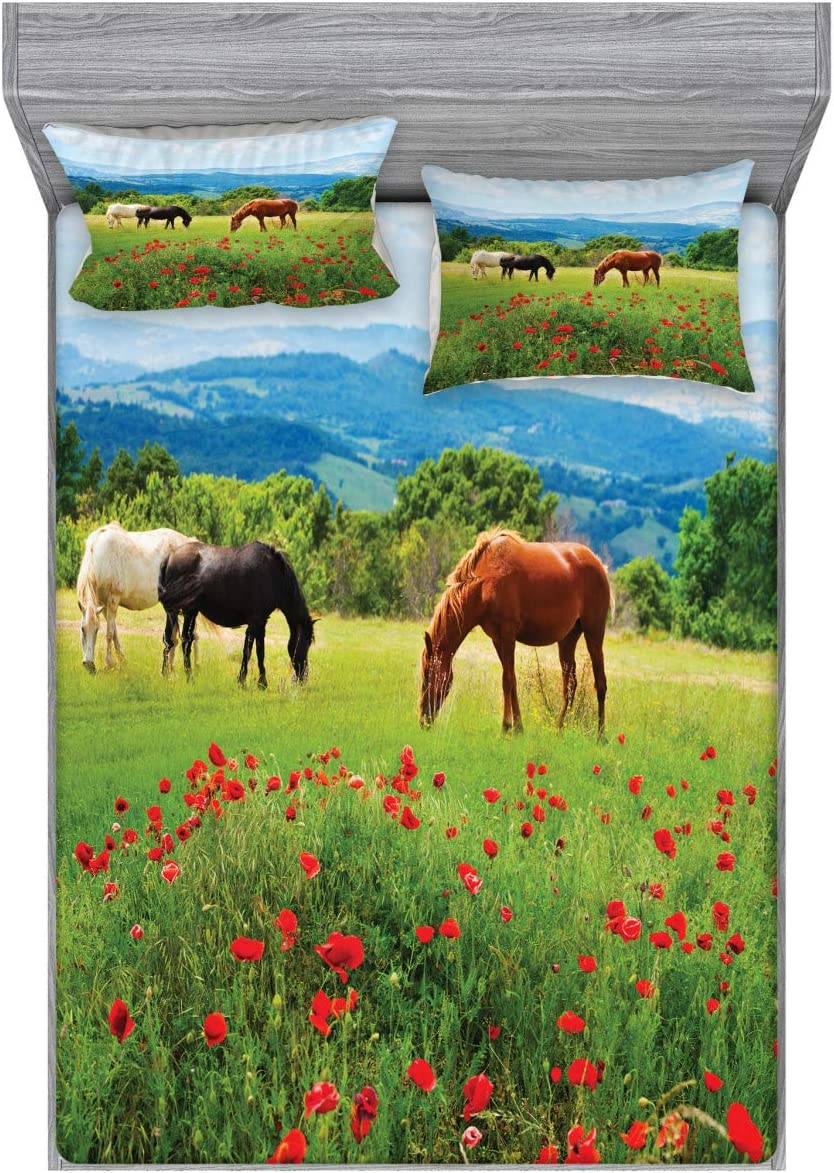 Ambesonne Horses Fitted Sheet & Pillow Sham Set, Various Kinds of Horses Eating Grass in Field Mountain Landscape Rural Scene Print, Decorative Printed 3 Piece Bedding Decor Set, Full, Green Red