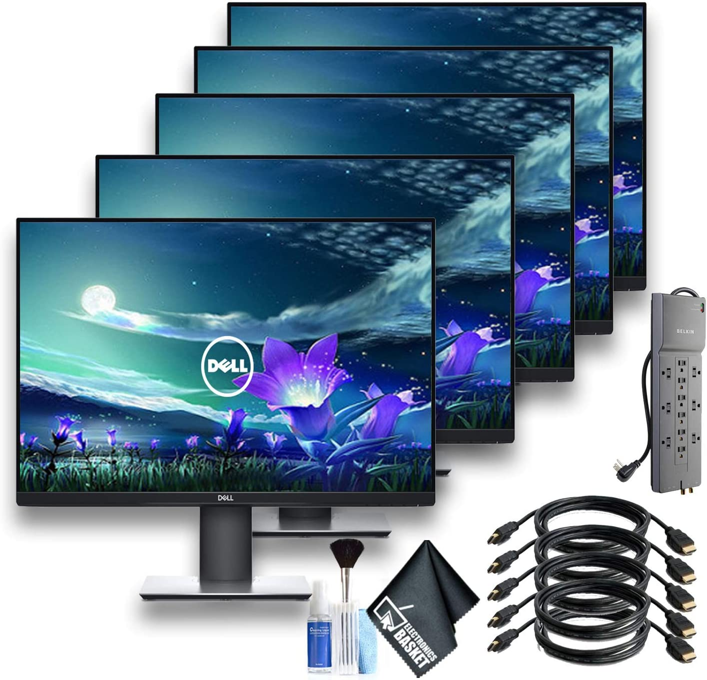 Dell UltraSharp 27 Inch Monitor U2719D QHD 2560x1440 Monitor with 1 - PowerStrip and 5 HDMI Cables - 5 Pack