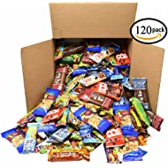 Healthy Snacks Bars Bulk Variety Pack - Office Snacks, School Lunches, Meetings - (Office Snack Station 120 Count)