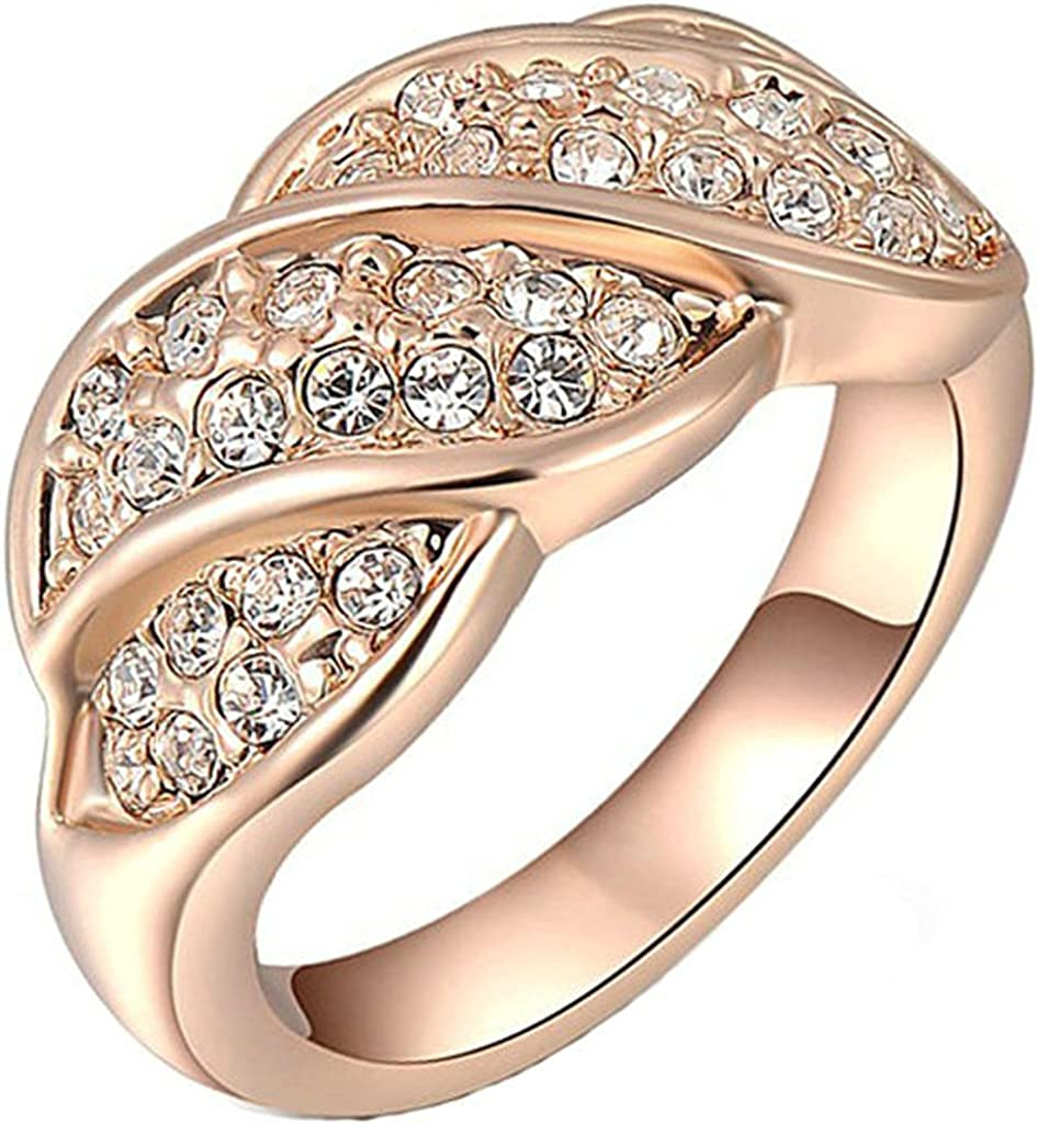 Gold Plated Ring Epinki Fashion Jewelry Womens Wedding Bands Round Cubic Zirconia Ring