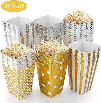 EKKONG Cajas de Palomitas de maíz, Palomitas de maíz Caja de bocadillos envases de Caramelos de cartón, Bolsas de Fiesta, para Niño Partes Boda Cumpleaños Regalos Películas (60 Piezas): Amazon.es: Juguetes y
