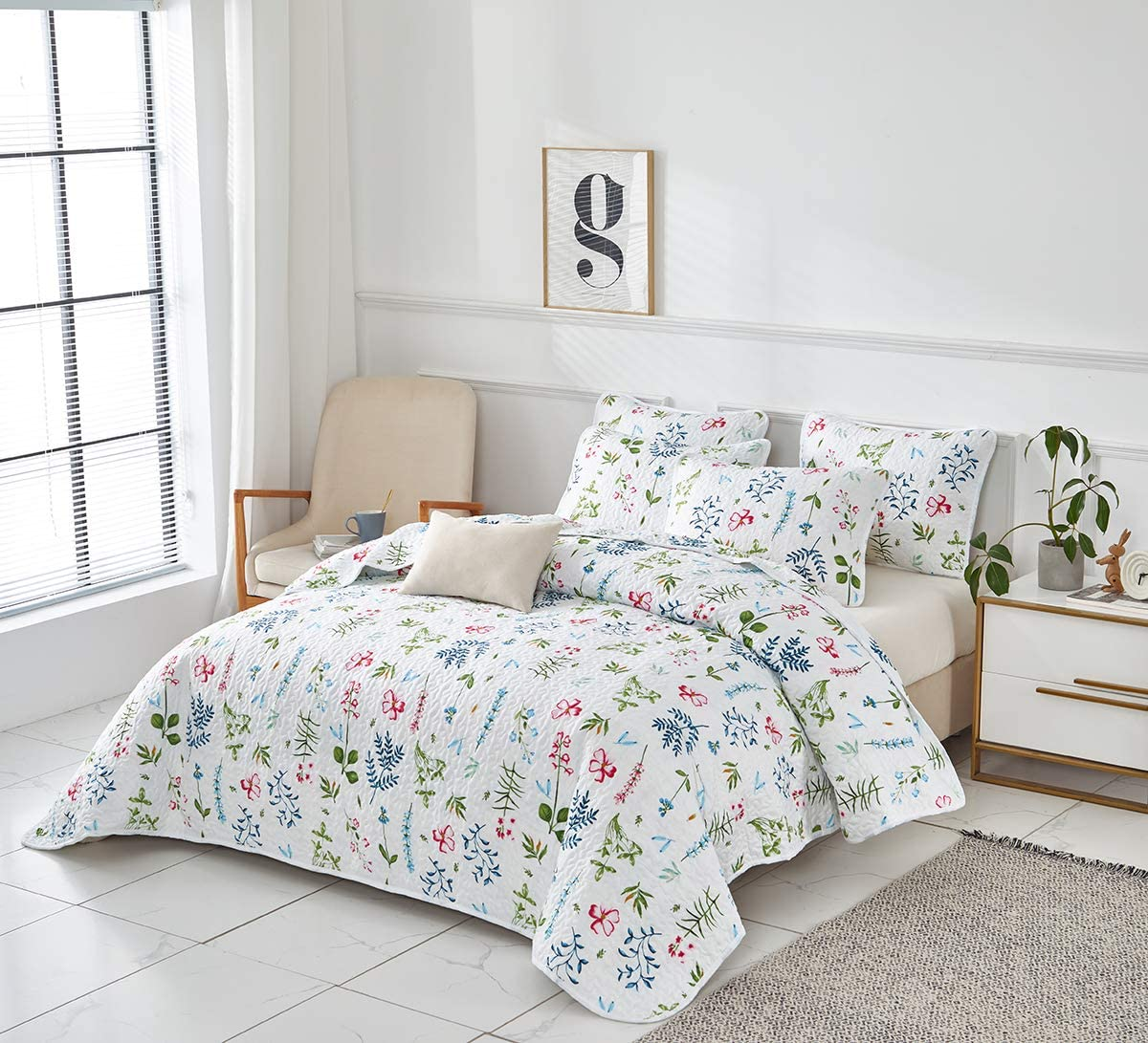 1 Quilt+ 2 Shams Uozzi Bedding 3 Piece Reversible Quilt Set Queen Size 92x90 Soft Microfiber Lightweight Coverlet Bedspread Summer Comforter Set Bed Cover Blanket for All Season Colorful Dots