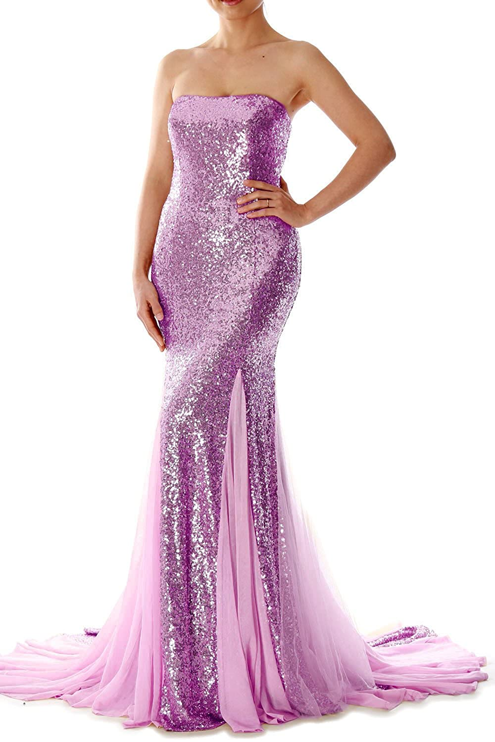 MACloth Mermaid Strapless Sequin Evening Dress Prom Formal Gown with Court Train