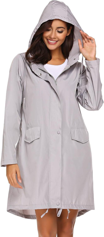DEATU Rain Jacket Women Lightweight Raincoat Striped Lined Waterproof Windbreaker Active Outwear Hooded Trench Coats