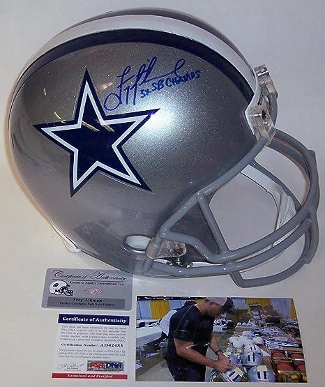 hot sale online 8f5bd 57ec5 Amazon.com: Troy Aikman Autographed Helmet - Full Size - PSA ...