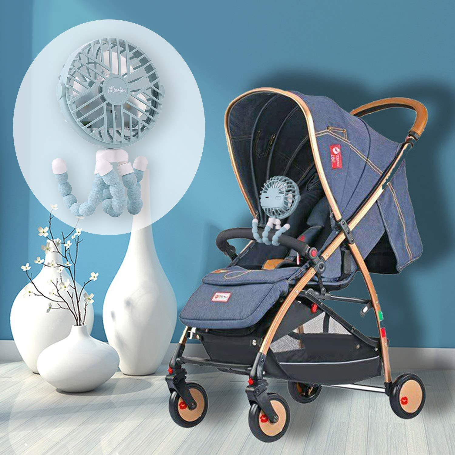 Mini Handheld Stroller Fan USB Personal Portable 3 Speeds Clip On Fan with Flexible Tripod for Car Seat Crib Bike Camping Travel Office Blue