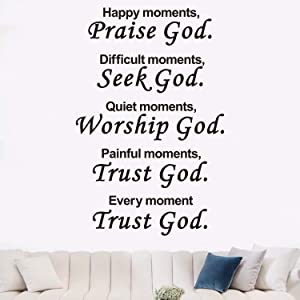 AnFigure Scripture Wall Decal, Biblical Wall Decals, Quotes Bible Verse Religious Home Art Decor Vinyl Stickers Happy Moments Praise God Difficult Seek Quiet Worship Painful Trust Every Trust 13